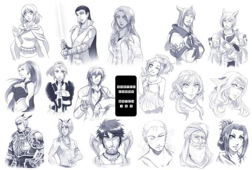 Sketch Commissions batch 1 + 2 by Zue