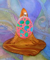 Pink and Blue Polymer Clay Cellular Pendant by aldcord