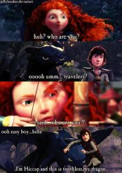 Merida meets Hiccup and Toothless.. by jellybreaker