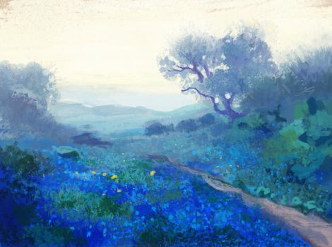 Study of Bluebonnets at Sunrise by R.J.Onderdonk by Birgitte-Gustavsen