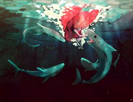I'm just a simple guy swimming in a sea of sharks by Derrewyn