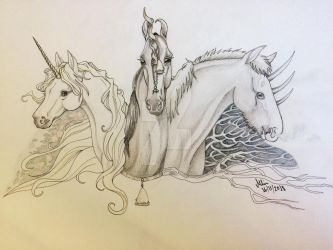 Unicorn, Duocorn and Tricorn by MelanippeArt
