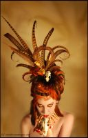 Pheasant feather and mink skull headdress by Genevieve-Amelia