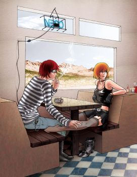 Matt + girlMello - Diner by blk-kitti