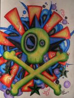 Colorfully Exploding Skull by your-mom--burn