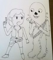 Chibi Han Solo and Chewbacca by saramarconato