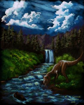 Bob Ross landscape with Allosaurus by NetRaptor