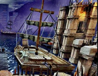 Ships at the Kirkwall docks by Finnyanne