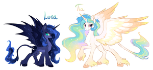 Alternate designs: Luna and Tia by hioshiru-alter