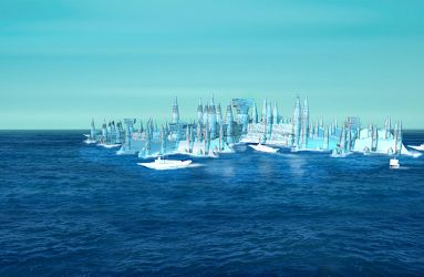 A floating reef-city on a Conver Ambi waterworld by eburacum45