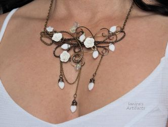 Romantic statement necklace with white roses by IanirasArtifacts