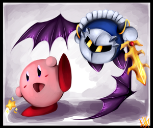 Mini Kirby and Meta Knight by WalkingMelonsAAA