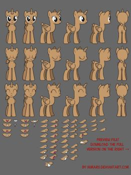 Female Pony Standing Base/Stock Pkg - Mouth ver. by Nimaru