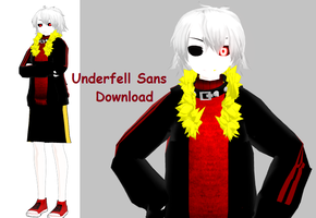 (MMD Model DL) Humanoid Underfell Sans by maddeno