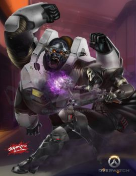Overwatch fan art 2016_Winston vs Reaper by debuhista