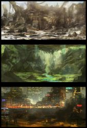 Environment Sketches 1 by Narandel