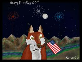 Fox with a Flag by foxstory