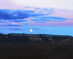Moonrise at Sunset by eastcorkpainter
