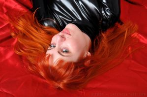 Red Head in Black Latex by ilovefrenchgirls