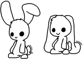 Chibi Bunny Lineart by CocoaAdopts