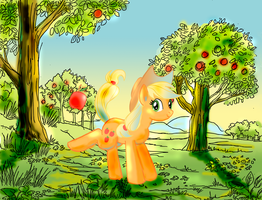 Applejack in the Orchard by lotothetrickster