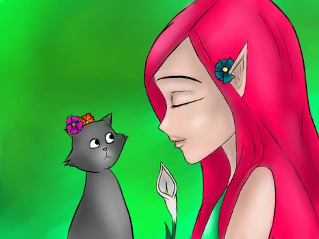 pink elf and cat by etteleen