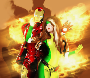 Rogue and Iron Man, by xx-Anya