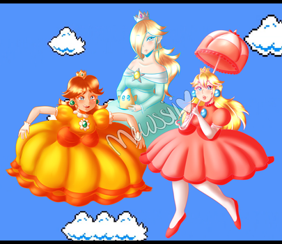 Super Mario Bros - Princess Trio by Mewssii