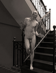 Nude arriving at the bottom of the staircase by gfriedberg