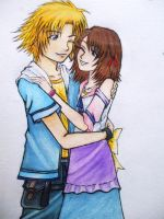 Mini Tidus and Yuna by rinounahearts