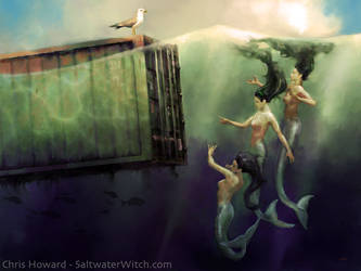 Mermaids Discussing Global Shipping by the0phrastus