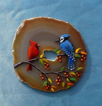 Cardinal and Blue Jay on Agate 2 by Nevuela