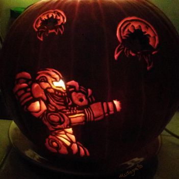 Huntin' Metroids Pumpkin by musogato