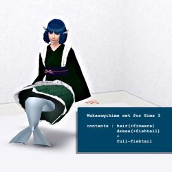 [Sims Touhou] Wakasagihime skin for Sims 3 by PRBBang