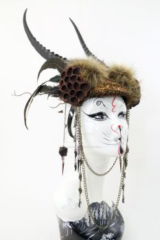 Primal Fury Faux Antelope Headdress by ctrlaltvamp