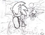 Sonic vs Metal :sketch by CaptainMika