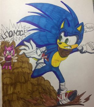 Sonic Under Heat Colored! by MatakietheHedgewolf