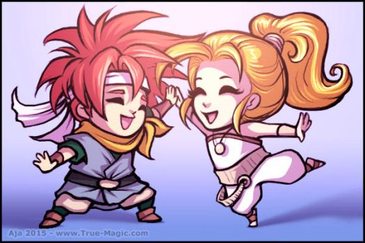Chibi Chrono and Marle by Vanilleon