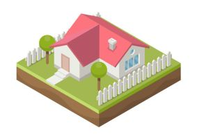 Family House Free Isometric Vector by superawesomevectors