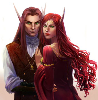 Commission : Vyrandil and Solistra by ForeverMedhok
