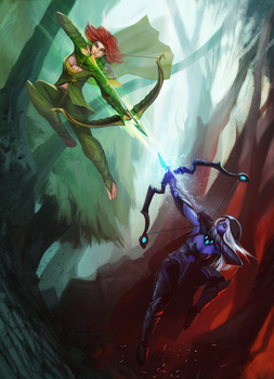 Drow Ranger vs Windrunner by entroz