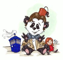 11th Doctor Panda by beckadoodles