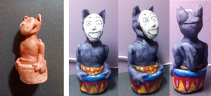 Popee the performer Kedamono painted clay model by jkw8888