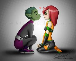Com :Kitzi n Beast boy: by MoonchildinTheSky