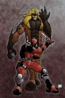 Deadpool and Sabertooth by sacking-jimmy