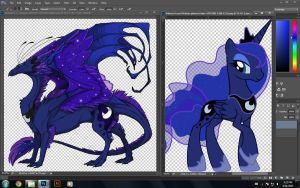 Luna skin design in progress by Yukidoerr