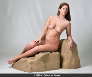 Stock:  Jessica nude sitting on rocks by ArtReferenceSource