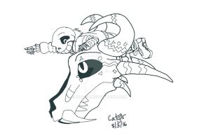 DimensionTale Sans riding the GB -ink- by catgir