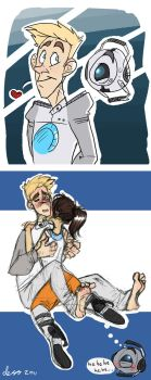 Wheatley and Chell doodles by mmishee