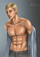 Just Erwin Smith, taking out his shirt by KarenOArt